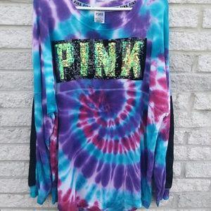 VS PINK Tie Dye Bling Varsity crew Mesh Net L